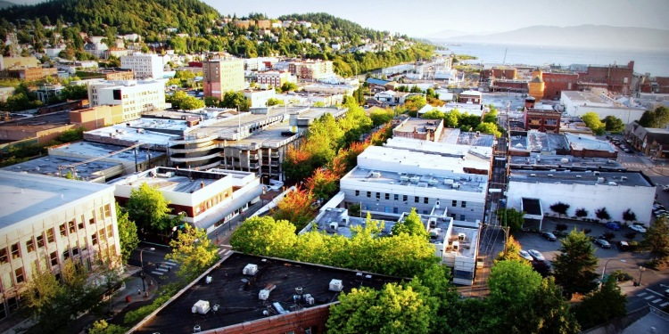 View of Downtown Bellingham from Huxley School