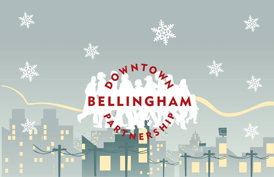 Downtown Bellingham Logo Snow scene red text