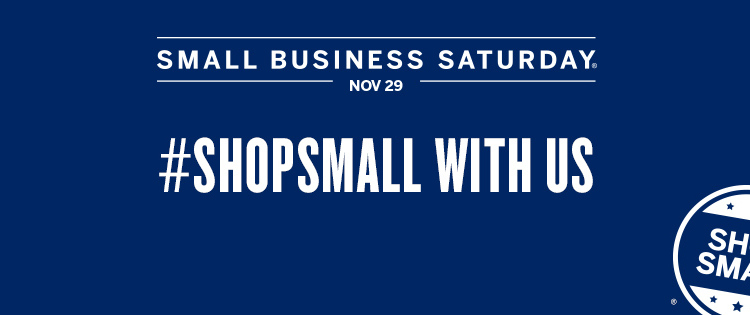 Shop Small Saturday Logo Image Blue Background