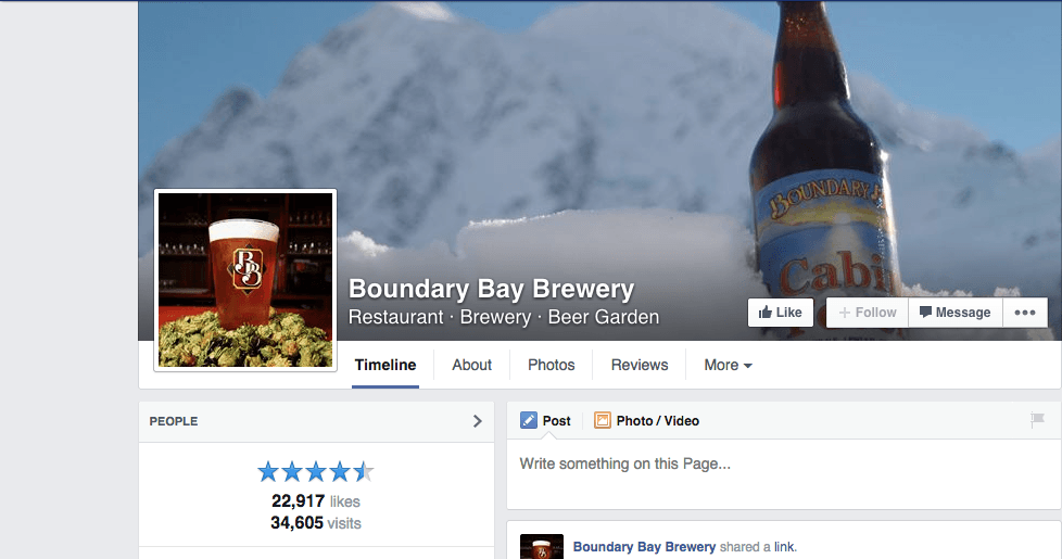 Boundary Bay Facebook page mountain and beer