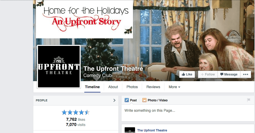Upfront Theater Facebook page scene from holiday play