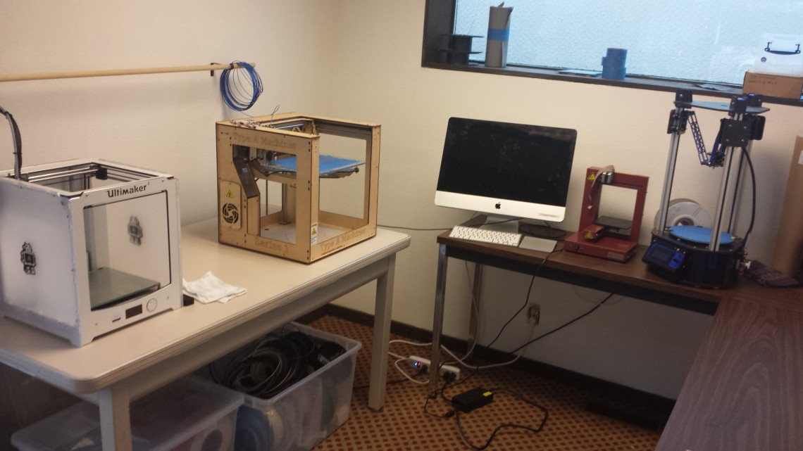 Foundry 3D printers on counter