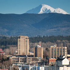 Downtown Bellingham Mt Baker and foothills background